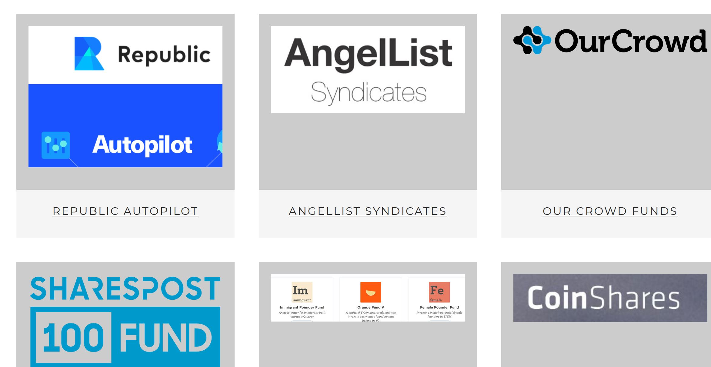 Republic Autopilot, AngelList Syndicates, other Funds